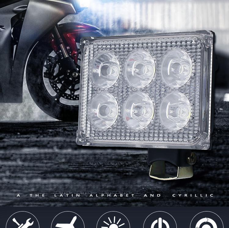 La motocicleta faros LED Modificado Accesorios 12V-80V luces brillantes estupendas, proyectores externos 6 Perlas de 18W