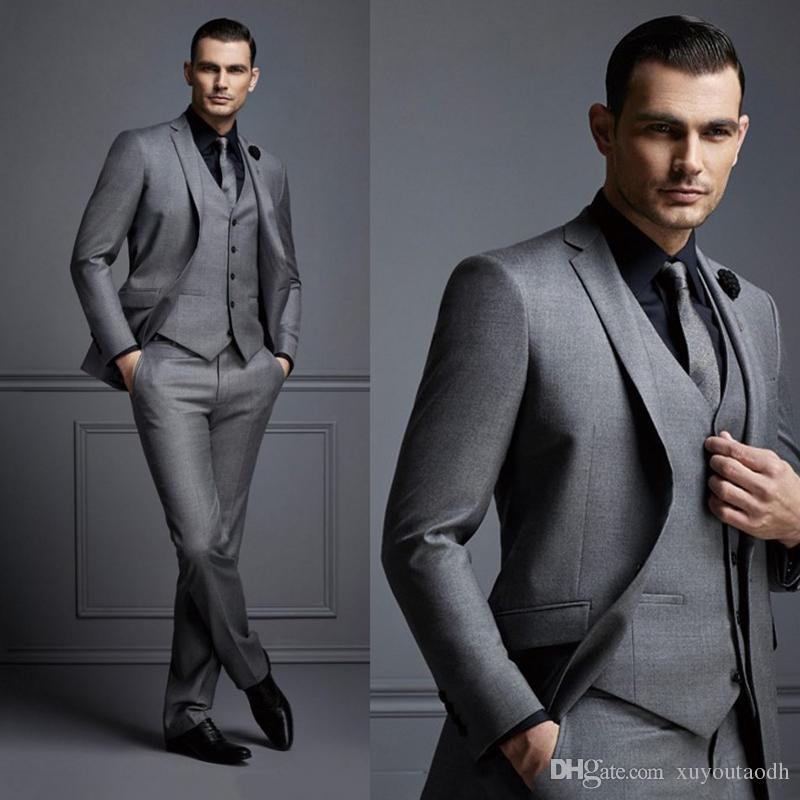 Dark Grey Men Suits Custom Made Wedding Suits For Man Formal Best Men Slim Fit Groom Tuxedos Tailored Blazer Masculino (Jacket+Vest+Pants)