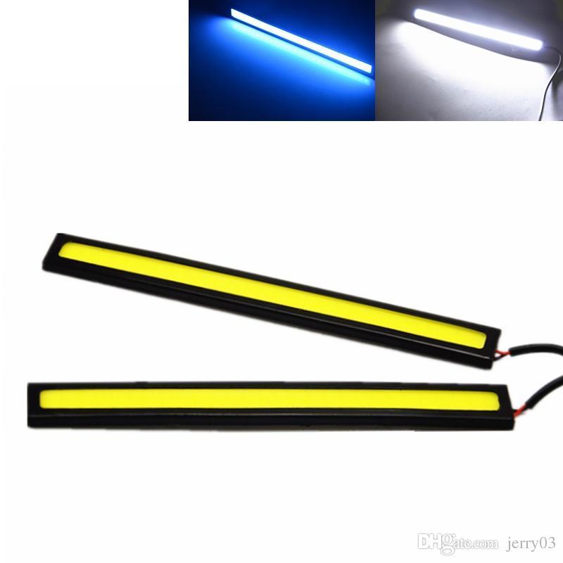2x 17 CM Carro LEVOU COB DRL Luz de Circulação Diurna À Prova D 'Água DC12V Externo Levou Fonte de Luz Do Carro de Estacionamento Nevoeiro Bar Lâmpada Branco Azul