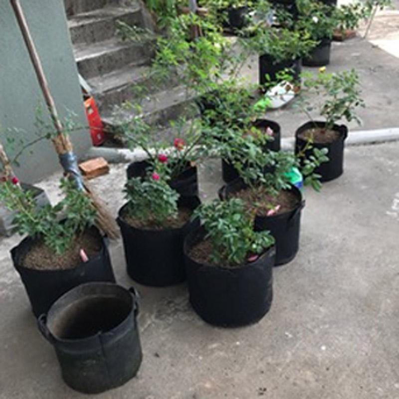 식물 성장 가방 비 짠된 꽃 야채 식물 폭기 직물 재배자 뿌리 냄비 주머니 봉합 핸들과 보육원 핸들