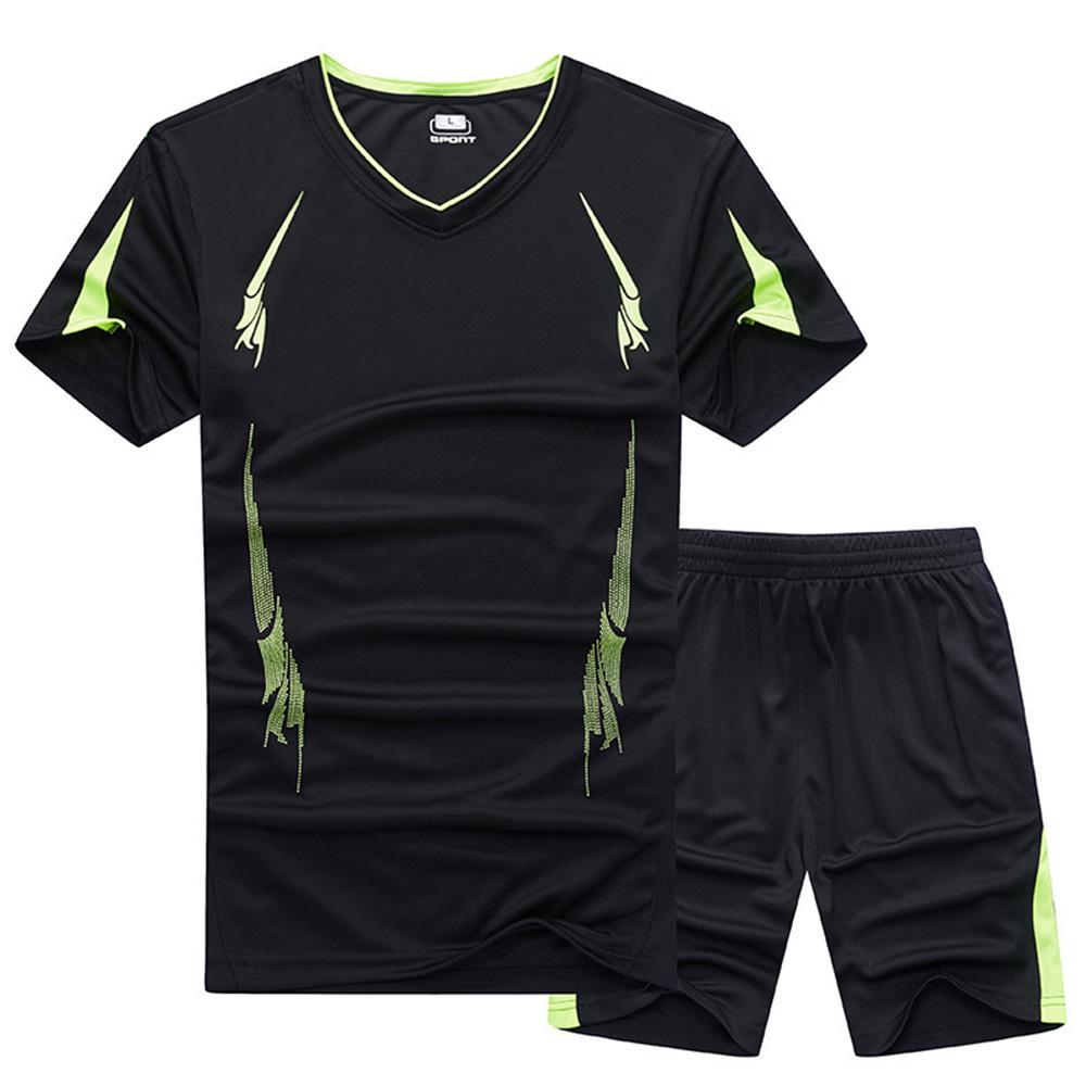 Men's Sportswear Summer Training Set da allenamento Trekking Running Fitness Fast Dry Top traspirante Giacca sportiva da uomo Nero