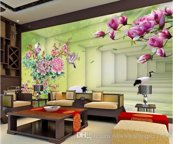 обои для гостиной мечта Пион Магнолия цветок 3D расширение пространства ТВ фон стены