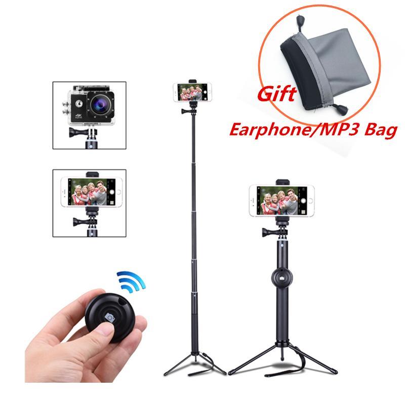 Tripé de telefone celular com controle remoto bluetooth telefone celular selfie vara mini tripé para esporte câmera luz monopé com clipe