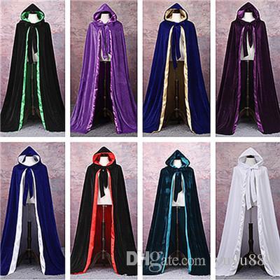 2020 Women Men Halloween Velvet Hooded Cloak Robe Medieval Witchcraft Larp Cape From Yuyu889 27 16 Dhgate Com