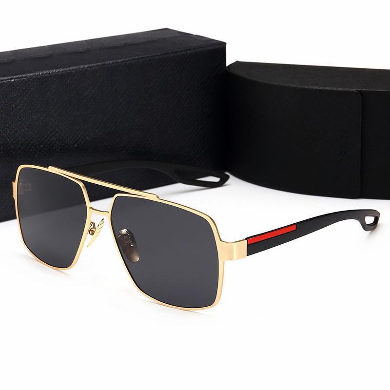 레트로 편광 럭셔리 망 디자이너 선글라스 무선 금도금 사각형 프레임 브랜드 태양 안경 패션 안경 케이스와 함께