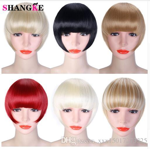 Synthetic Hair Bangs 2Clips Clip In Hair Extension Black Brown Blonde 20 Colors Side symmetry Fringe Bangs Hairpieces
