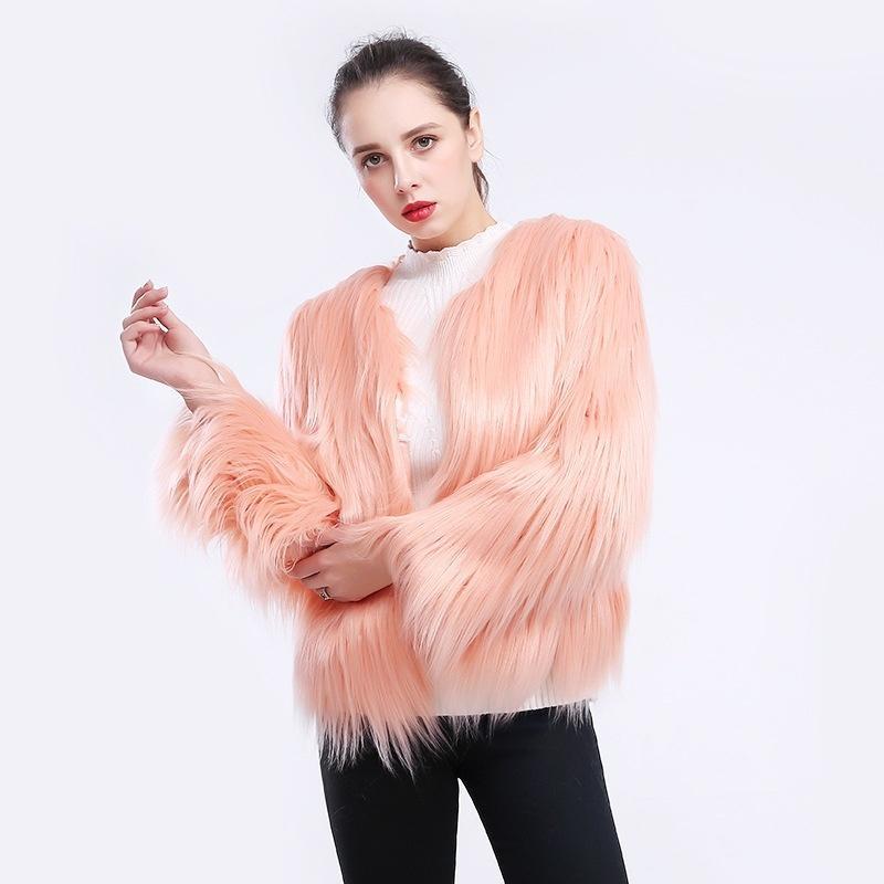 women wool fur coat jacket short-sleeved large size fur imitation jacket coat for women ladies thick outerwear