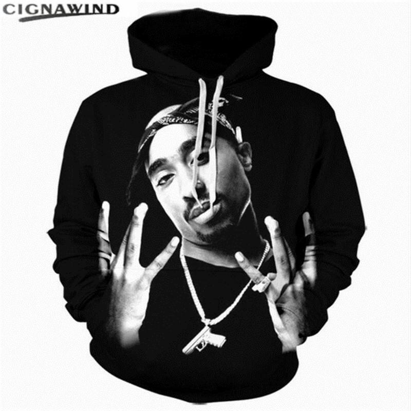 Vente chaude Mode 3d hip-hop Hoodies hommes femmes tops Tupac Shakur Caractère Impression hoodies Pull Casual mens sweat-shirt outwear