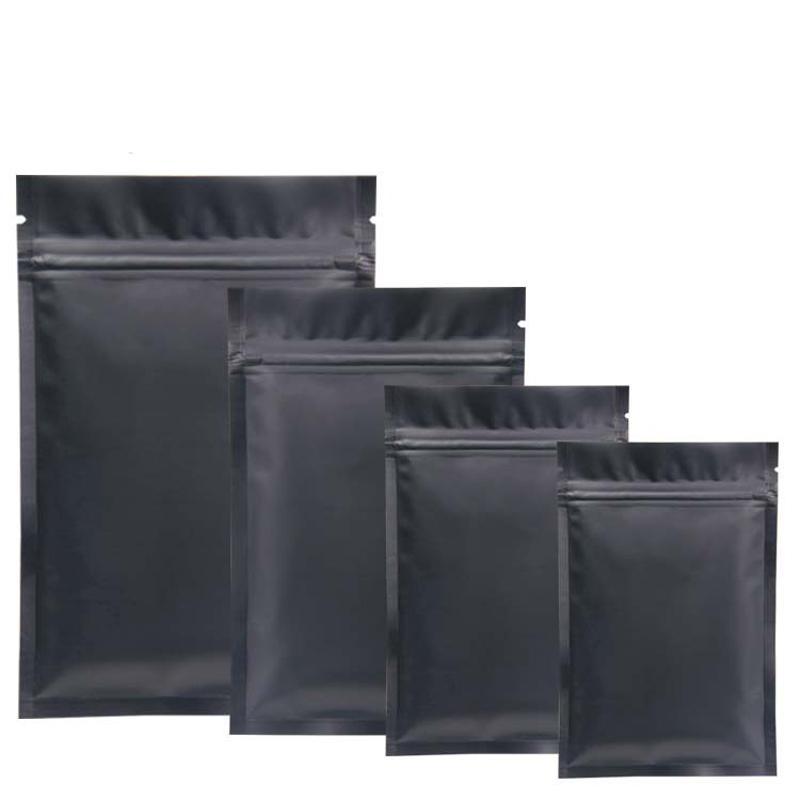Siyah Mylar Çanta Alüminyum Folyo Fermuarlı Çanta Uzun Süreli Gıda Depolama Ve Koleksiyon Koruma İki Yan Renkli 900 adet