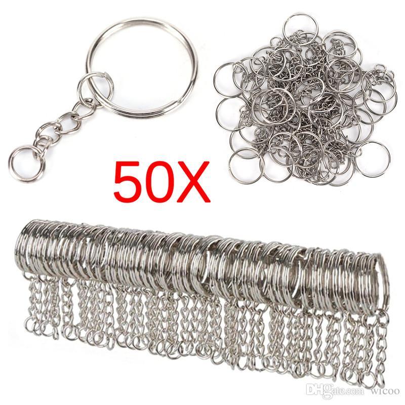 50 pcs Cor de Prata Polida 25mm anel Chave Dividir Anel Com Anéis de Cadeia Curta Mulheres Homens DIY Acessórios