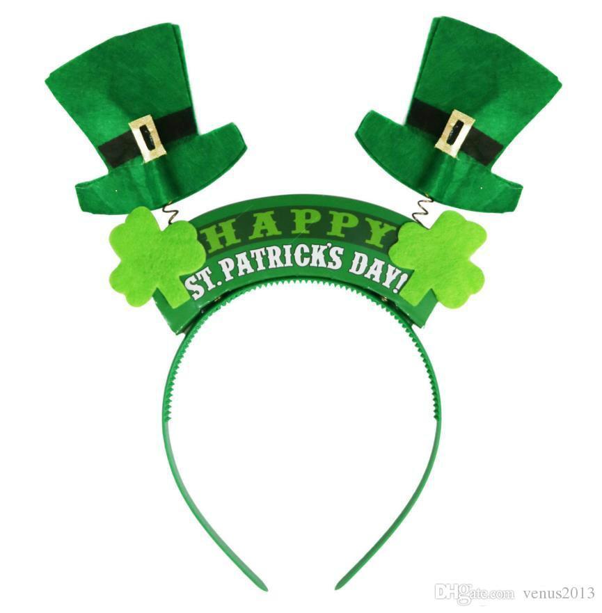 İrlandalı St Patricks Günü Kafa Yeşil Leprechaun hairband Shamrock Toka Fantezi Elbise Karnaval Noel aksesuarları parti üst şapka Ücretsiz gemi