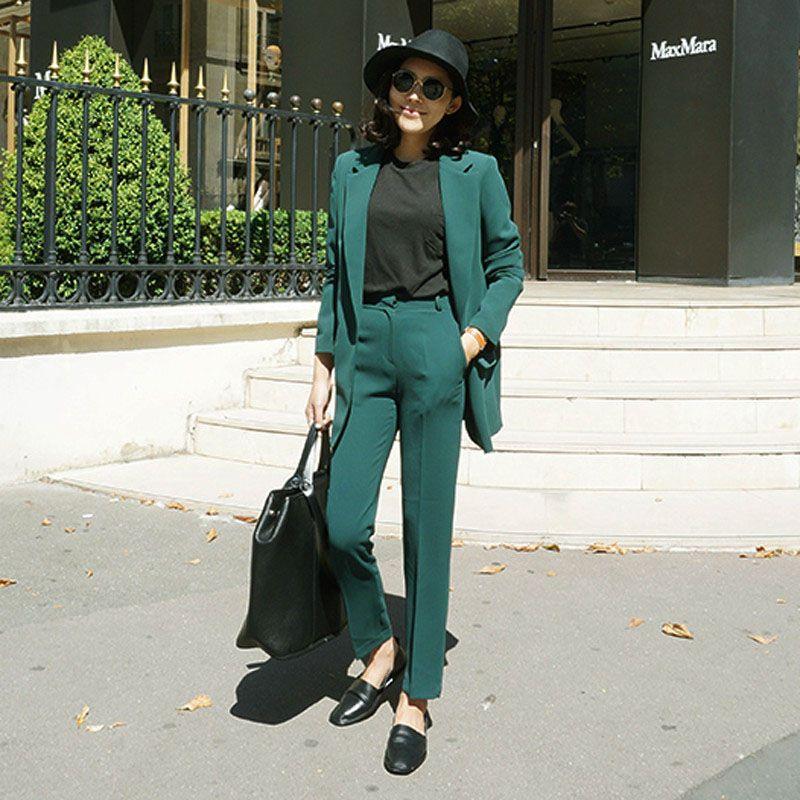 2018 여성용 정장 바지와 블레이저 여성용 비즈니스 정장 정장을 입고있는 Office Suits 웨딩을위한 EleSuits 슬림 맞춤 맞춤 제작