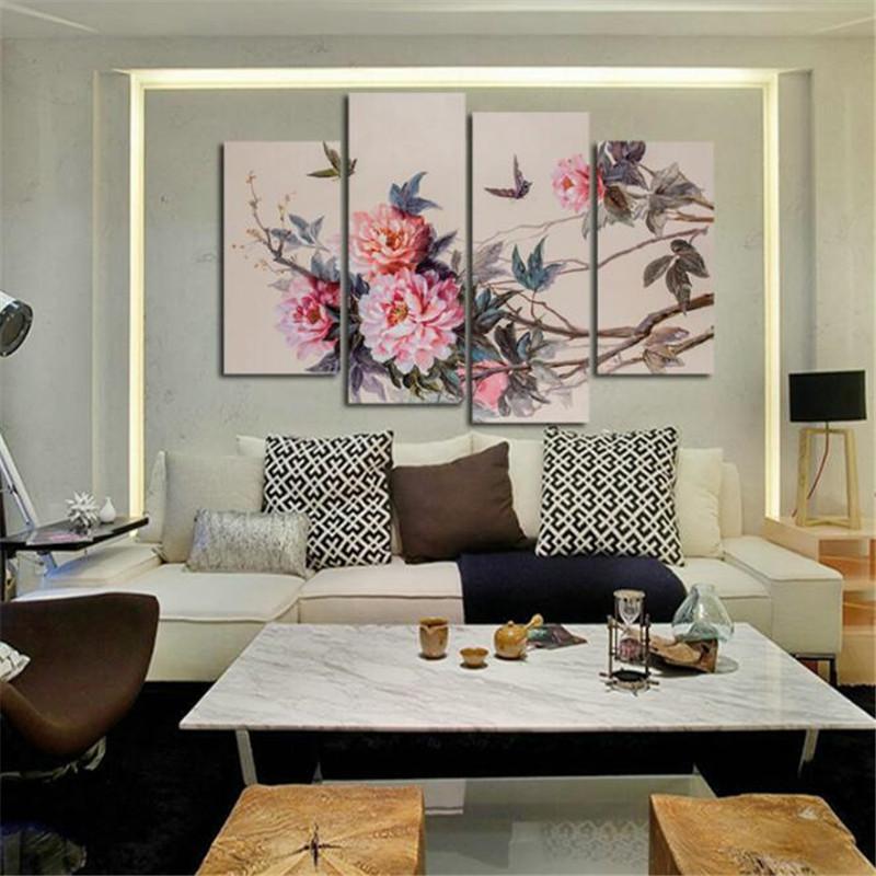 캔버스 페인팅 Unframed 4 Pcs 중국 스타일의 모듈 형 벽화 모란 꽃 Cuadros Decoracion Pictures for Living Room