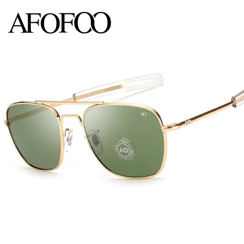 الإطار AFOFOO كلاسيكي AO النظارات الشمسية العلامة التجارية تصميم الأزياء الرجال مربع معدن عدسة زجاج نظارات الشمس نظارات ذكر لل