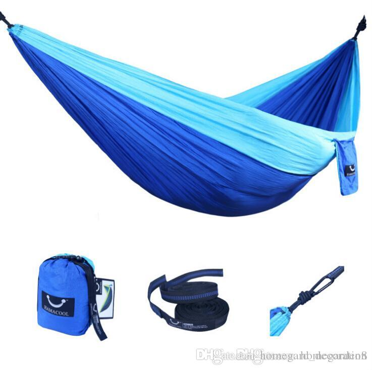 Tragbare Nylon Einzel Person Hammock 220 * 90cm Parachute Parachute Stoff Hammock Für Reisen Wandern Backpacking Camping Hammock