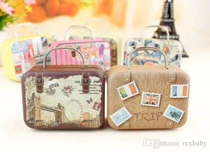 Retro Suitcase Candy Box Sweet Love Wedding Party Gift Jewelry Tin plate Boxes Mix 6 Style New