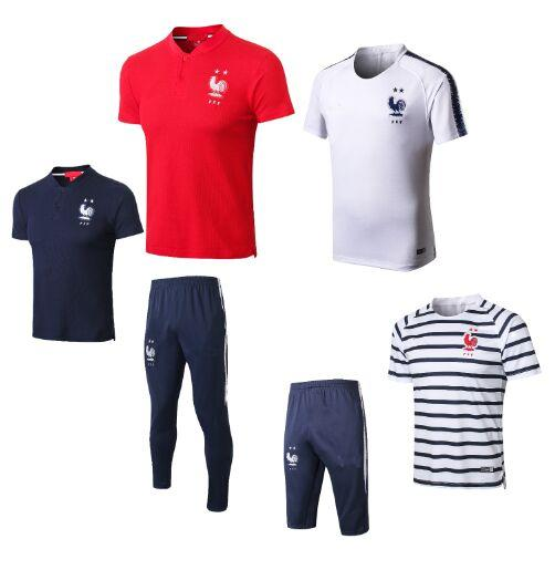 2019 Jogging Pants Kits Maillot De Foot Football Training Polo Equipe De France World Cup 2018 2 Etoiles Two Stars Soccer Jerseys Polo From