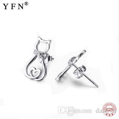 Hot sale 925 Sterling Silver Cat Earring Crystal Stud Earrings Fashion Animal Jewelry Brincos For Women Fine Gifts Girl GNE5026