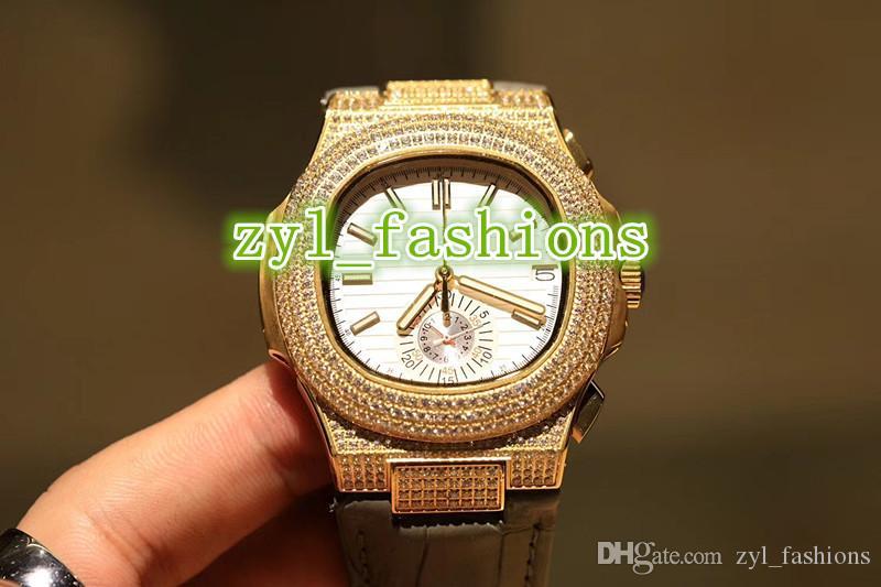 Высокое качество роскошные мужские наручные часы белая поверхность сапфировое стекло золото Алмаз часы импортированные кварцевые часы