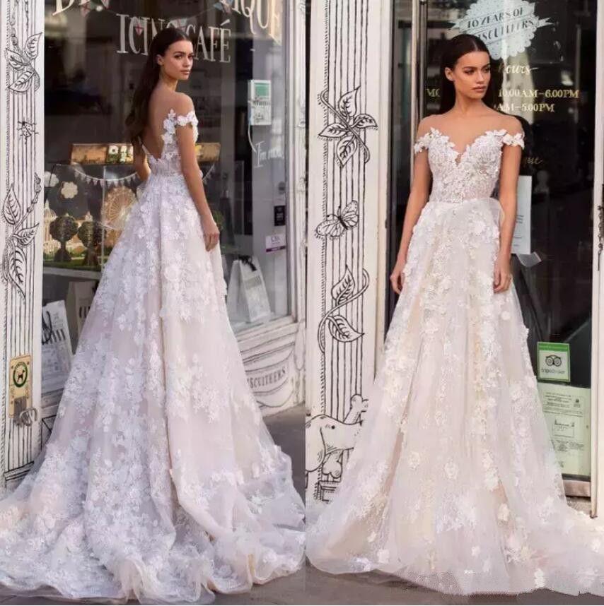 Vintage Lace Wedding Dresses Off Shoulder 3D Appliqued Backless Bridal Gowns vestido de novia Sweep Train Custom Made A Line Wedding Dresses
