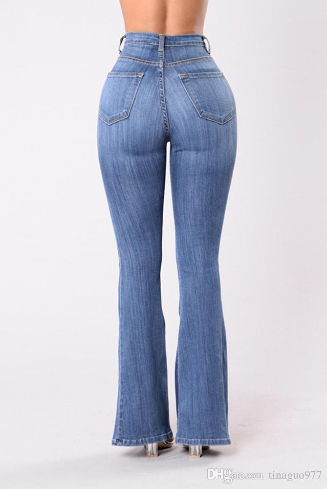 f3cf9fde515b9 ... Bell Bottom Women Jeans Jeans taille haute Jeans Jeans à boutonnière  boutonnée Pantalon évasé