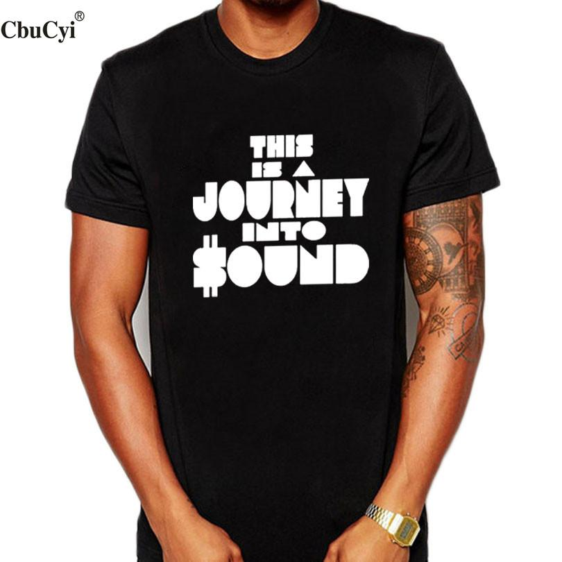 Hipster Dj Men T Shirt This Is A Journey Into Sound Funny Letters Camiseta estampada Harajuku Streetwear Hip Hop Ropa