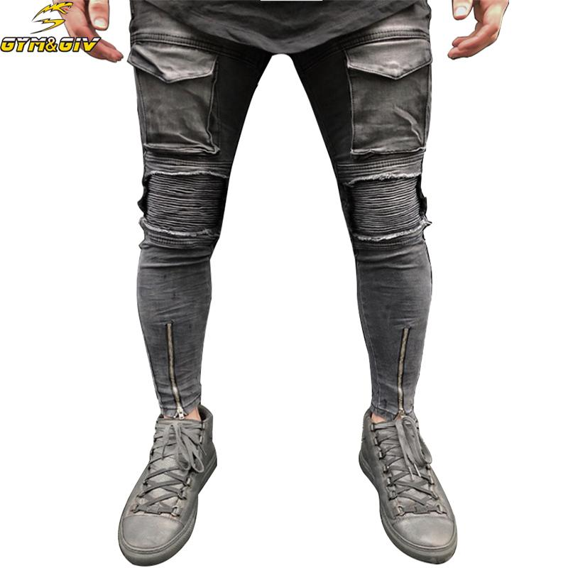 2018 New Gray Jeans men Hem Zipper Stretch Knee Ripped Biker Jeans Men Hole Hip Hop Brand Skinny Pleated Patchwork Male Pants