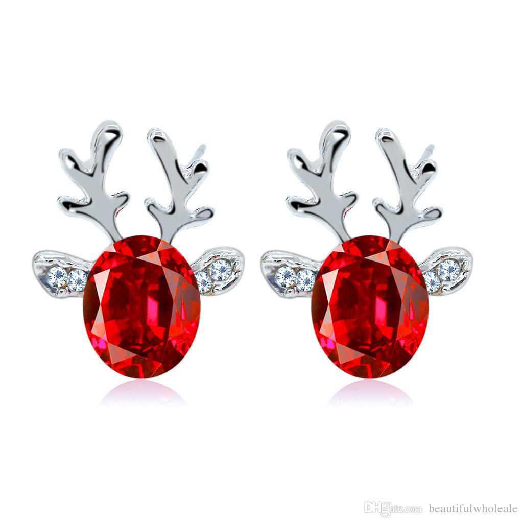 Nueva llegada Pendientes de moda 7 * ciervos de color pendientes de cristal colgantes Earhook Regalo para usted / Pendientes de joyería del partido