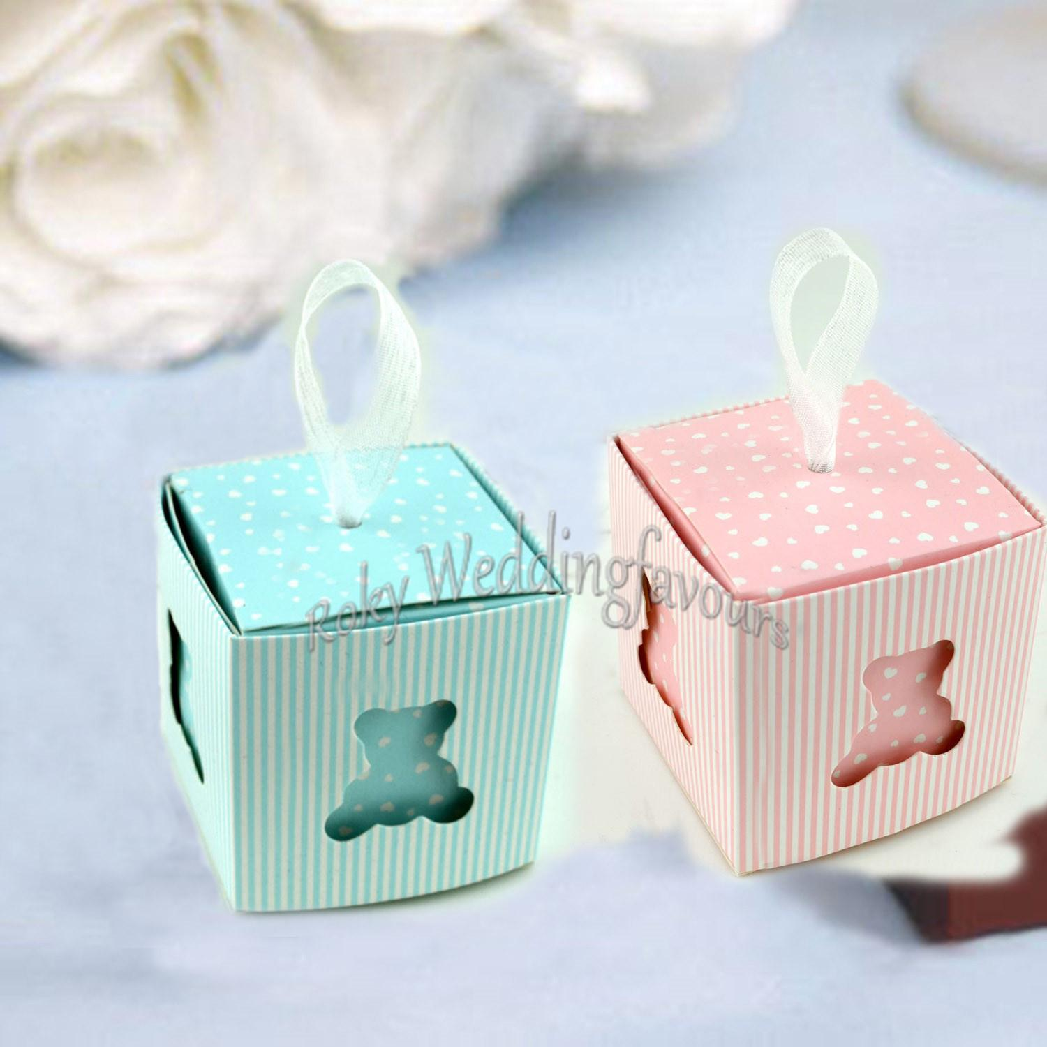 Blue Pink Little Teddy Bear Favor Boxes Baby Shower Baptism Party Candy Box Christening Kid Birthday Party Supplies Toddler Party Favors Top Wedding