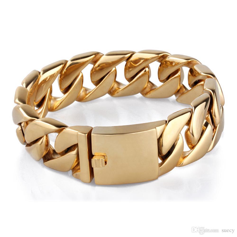 Pulseras de cadena de oro de acero inoxidable 316L cubana Enlace pulsera 20mm brazalete de la joyería de acero de titanio Ancho pesado vendedor caliente de los hombres de