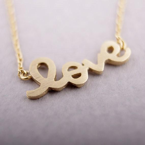 2018 Fashion shapes of letters Gold-color LOVE plated Necklace Pendant Necklace for women gift Free Shipping Wholesale