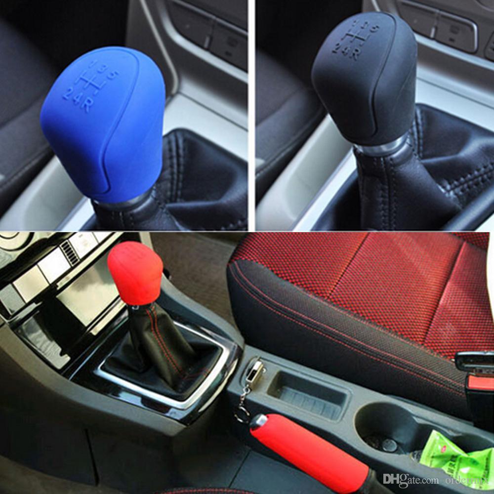 Silicone Car Hamule okładki hamulcowe Gear Head Gałka Pokrywa uchwyty hamulca ręcznego Car-Styling Collars Collars Samochody Akcesoria