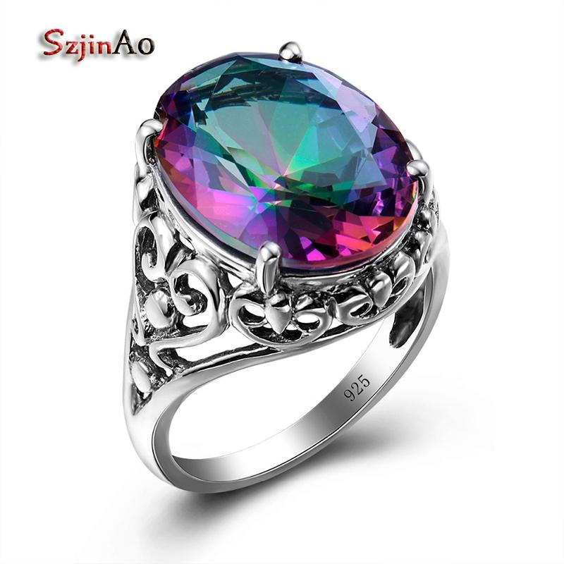 Szjinao Sale Charm Punk Heart Solid 925 Sterling Silver Jewelry Mystic Rainbow Topaz Ring For Women Valentine Day Gifts Party Y1892607