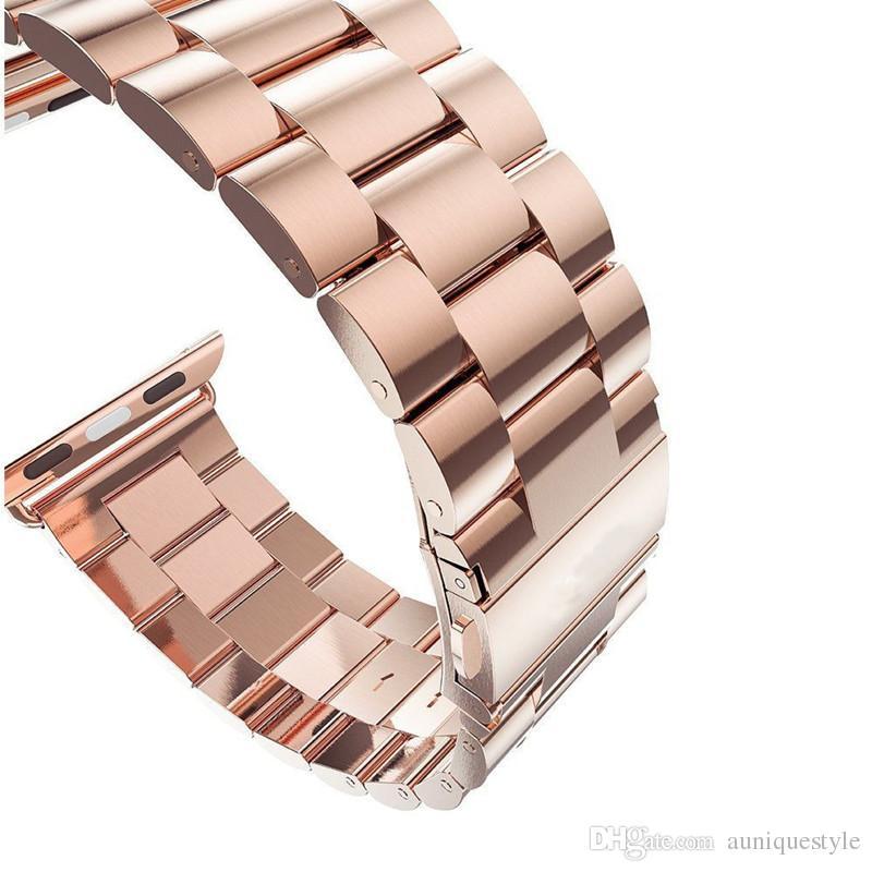 Pulseira de substituição de metal de luxo, Auniquestyle pulseira de aço inoxidável Buckle Strap Clip Adaptador para Apple Watch Band 38mm para iWatch