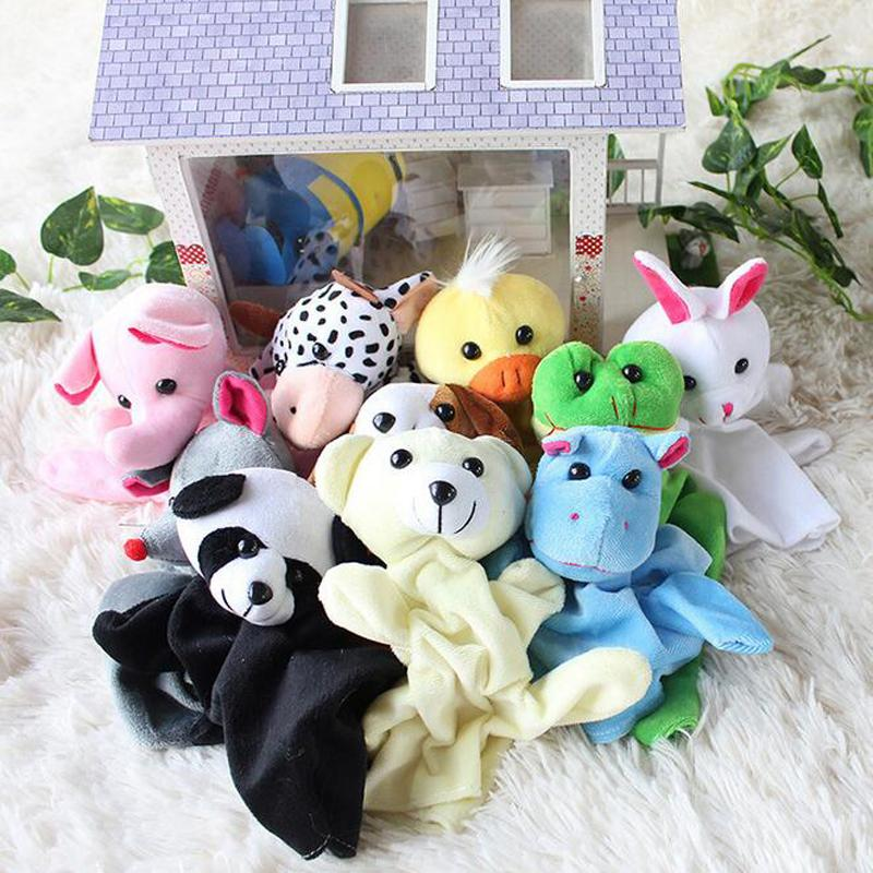 Funny Cute Cartoon Animal Doll Kids Glove Hand Puppet Plush Finger Toys Cat Gift