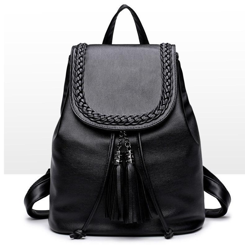 Black Backpack Pretty Style PU Leather Women Black 15 Inches Backpack Fashion Female Casual Girls School Shoulder Bags For Women's Backpack