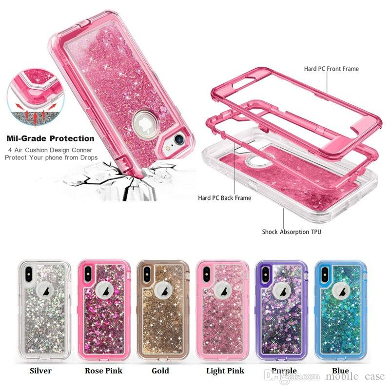 Shockproof 3in1 Glitter Liquid Bling Crystal Robot Quicksand Defender Case For iPhone Xs Max XR X 8 7 6S Samsung Note 9 S8 S9 S10 S10 Plus