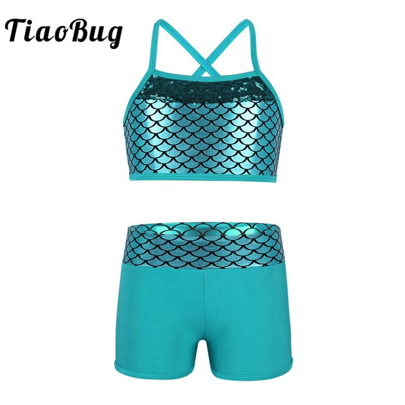 TiaoBug Kids Girl Tankini Suit Paillettes Mermaid Scales Crop Top con Shorts Set per ginnastica Workout Balletto Party Dance Wear