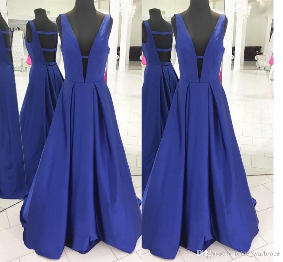2018 Royal Blue A Line Brautkleider Tiefem V-Ausschnitt Sleeveless Sexy Backless Bodenlangen Abendkleider geraffte Fleck Abendkleider Stock Länge