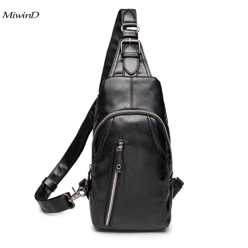 Leather Black Crossbody Bag For Men