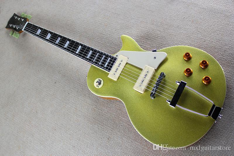 Chitarra elettrica di vendita calda personalizzata con corpo in metallo giallo e manico in mogano, tastiera in palissandro e personalizzazione