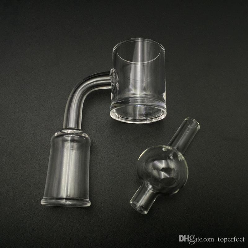 Quarz Banger Nail und Blase carb cap 10mm 14mm 18mm männlich / weiblich 90 Grad für Glas Wasser Bongs 100% echte Quarz Nagel Großhandel