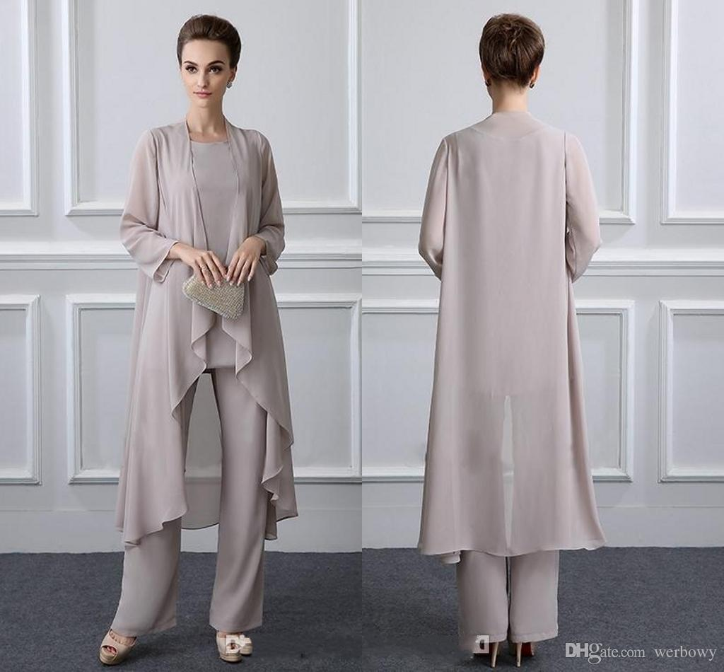 Simple Elegant Mother Of The Bride Pant Suits With Jacket Chiffon Beach Wedding Guest Groom Dresses Cheap Mothers Outfit Long Garment DH326