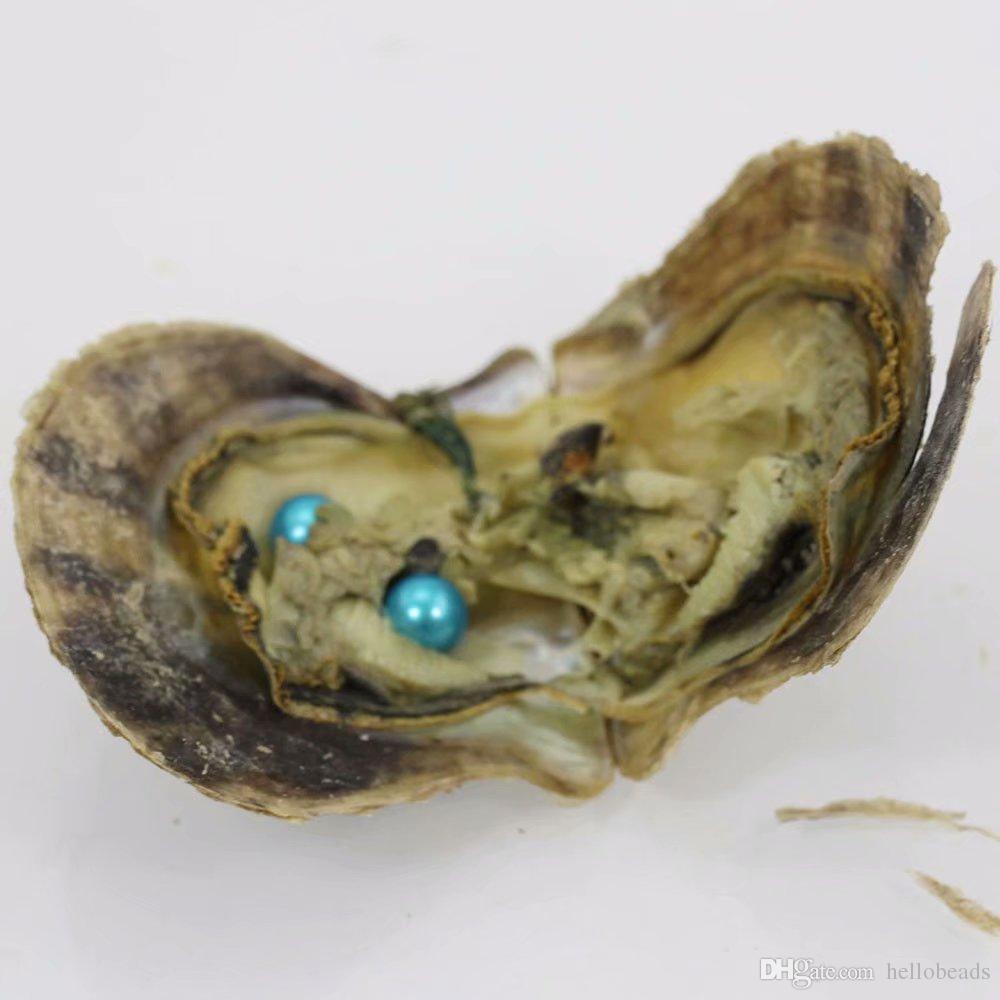 2018 mix 25 colores los 6-7MM Doble Perlas en agua salada ostras Akoya ostras con perlas Doble Amor perla del deseo regalos