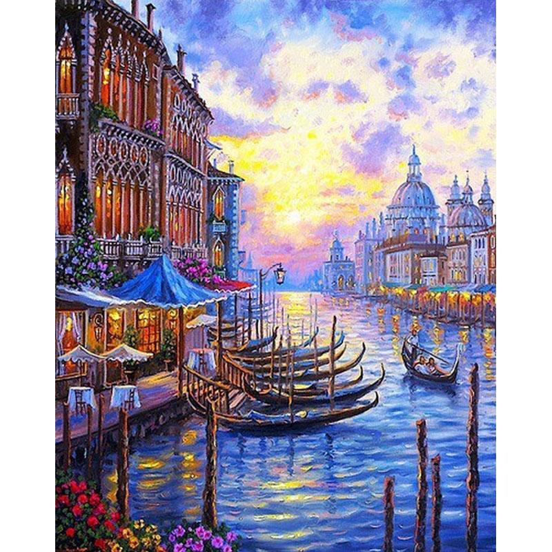 Frameless Venice Sunset Seascape Fai da te Pittura By Numbers Art Canvas Painting Modern Home Decorazione della parete Regalo unico per opere d'arte