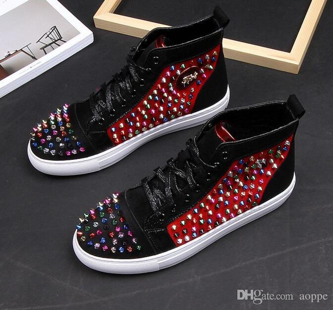 2019 tahta ayakkabı, yüksek yardımcı erkek ayakkabı, bireysel perçin ayakkabı, Hip hop Kaya moda ayakkabılar. Günlük Spor Gelinlik Ayakkabıları 38-43 # 95.