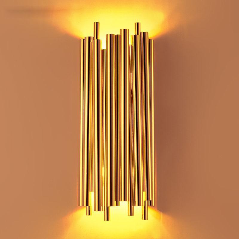 Moderne wandleuchte led wandleuchte luxus golden aluminium rohr applique murale hause beleuchtung treppen wandleuchten