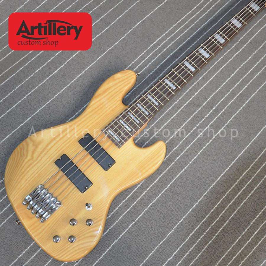 Artillery factory custom Jazz natural Ashwood body 5 strings bass guitar with rosewood fingerboard musical instrument shop