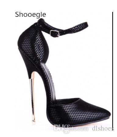 Sexy Black Buckle Strap Pointed Toe Metal 16 CM Thin High Heel Women Pumps Stiletto High Heels Party Dance Nightclub Lady shoes