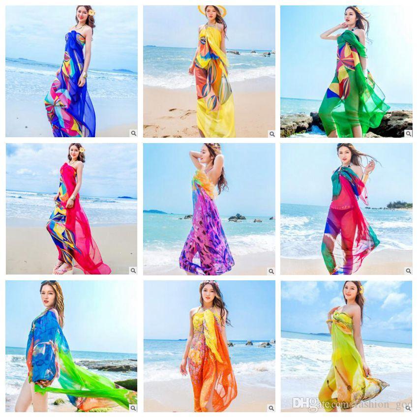 Frauen-reizvolle Badebekleidung-Bikini-Abdeckungs-Art- und Weiseverpackungen Sonnenbaden-Schal Beachwear-Sommer-Kleider Sonnencreme-Druck-Poncho Sarong-Schals B3948